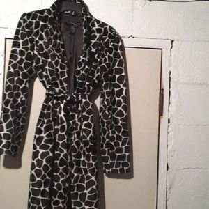 Be be animal print faux fur trench